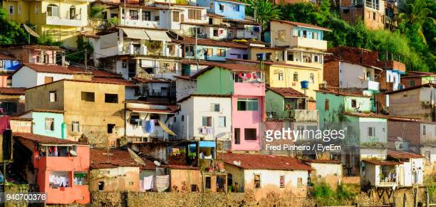 low angle view of residential district - favela stock pictures, royalty-free photos & images