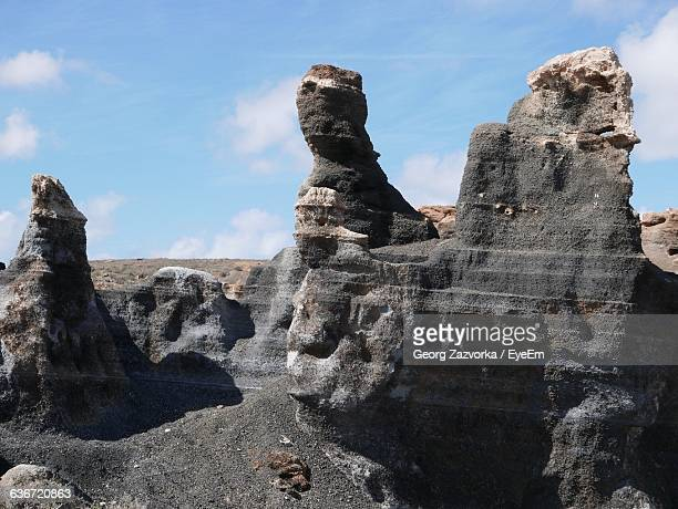 Low Angle View Of Rock Formations Against Sky At Lanzarote