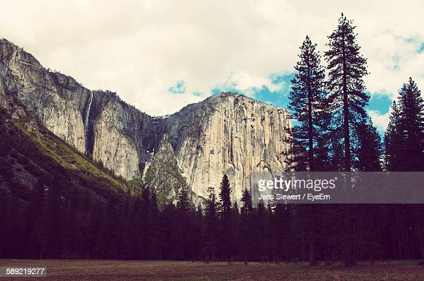 Low Angle View Of Rocky Mountain Against Sky At Yosemite National Park