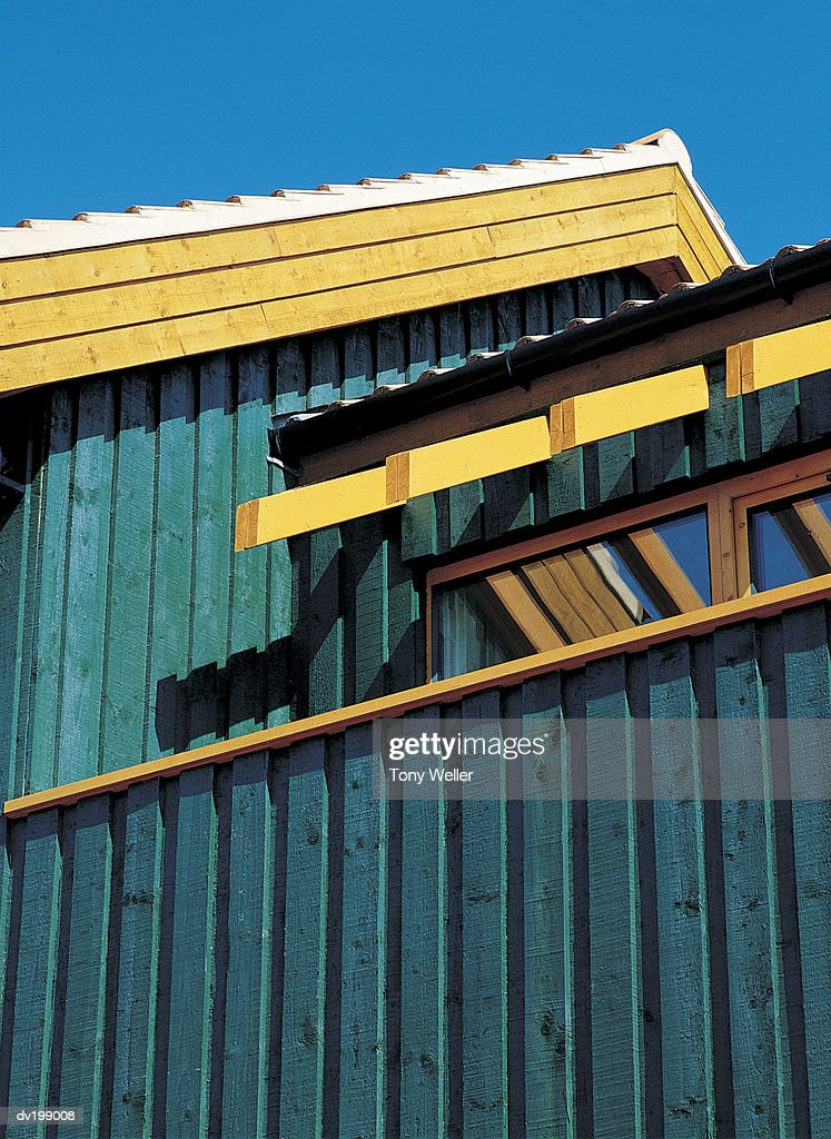 Low angle view of roof and fa ade : Stock Photo
