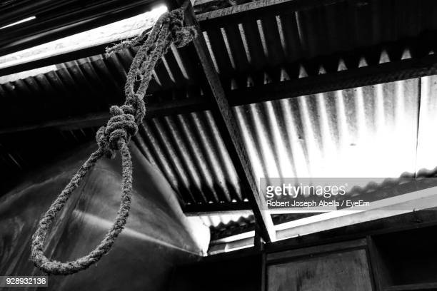 low angle view of rope hanging on ceiling - suicidio fotografías e imágenes de stock