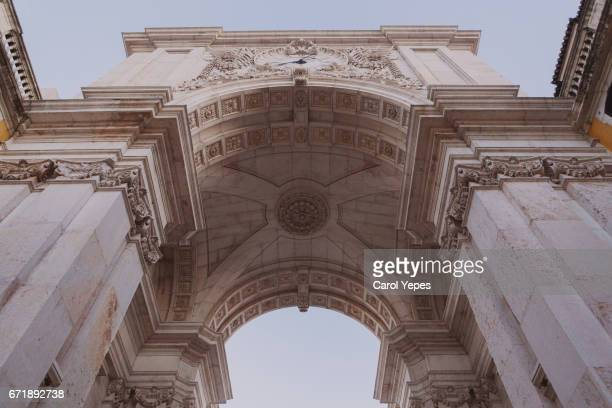 low angle view of rua augusta arch - rua stock pictures, royalty-free photos & images