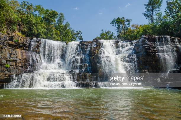 low angle view of saala waterfall in forest against sky, guinea, west africa - guinea stock pictures, royalty-free photos & images