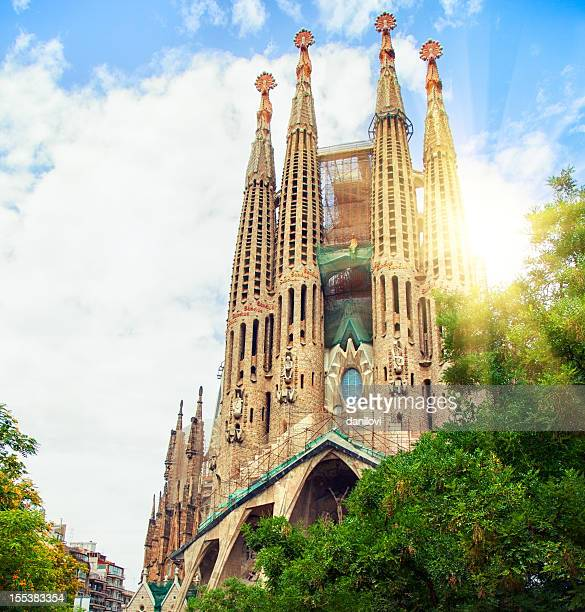 Low angle view of Sagrada Familia, Barcelona