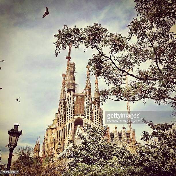 Low Angle View Of Sagrada Familia Cathedral