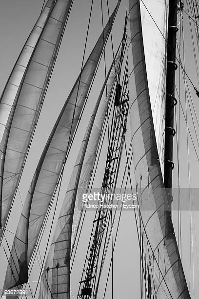 low angle view of sailboat canvas - voilier noir et blanc photos et images de collection