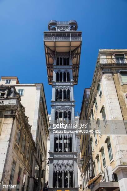 Low angle view of Santa Justa lift, Lisbon, Portugal