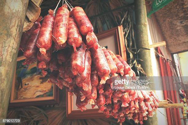 Low Angle View Of Sausages Hanging