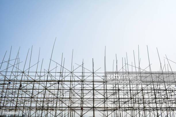 Low Angle View Of Scaffolding Against Clear Sky