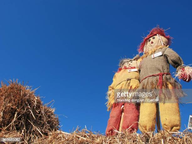 low angle view of scarecrow against clear blue sky - scarecrow agricultural equipment stock photos and pictures