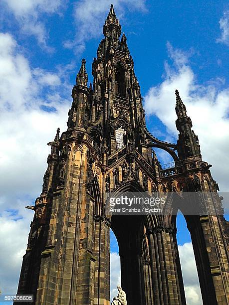 Low Angle View Of Scott Monument Against Cloudy Sky