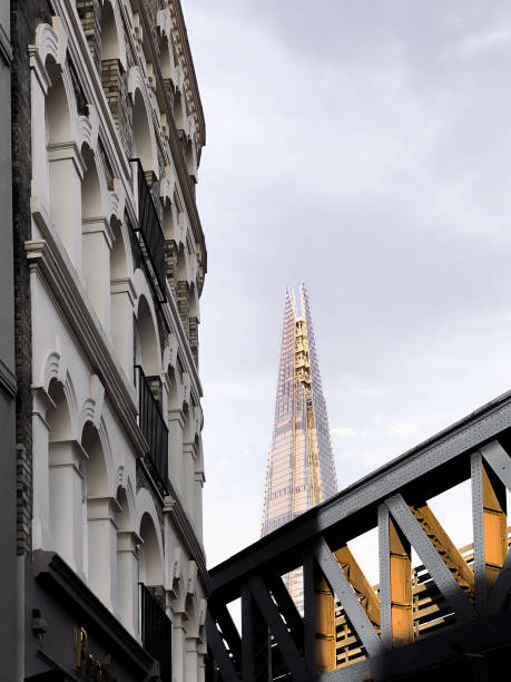 Low Angle View Of Shard Behind Bridge At Golden Hour / Sunset