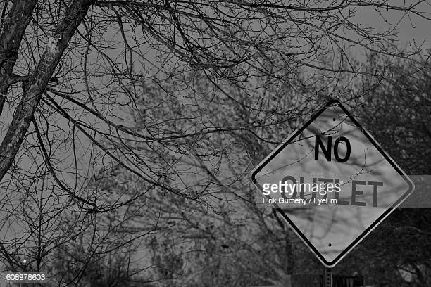 Low Angle View Of Signboard Against Bare Trees At Forest