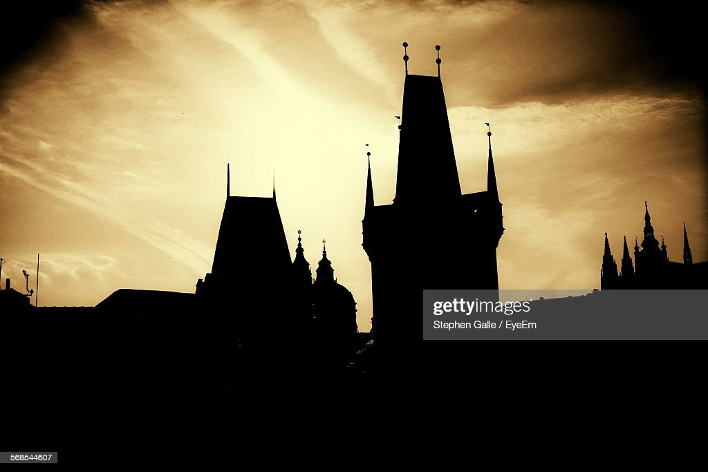 Low Angle View Of Silhouette Charles Bridge Against Sky During Sunset : Stock Photo