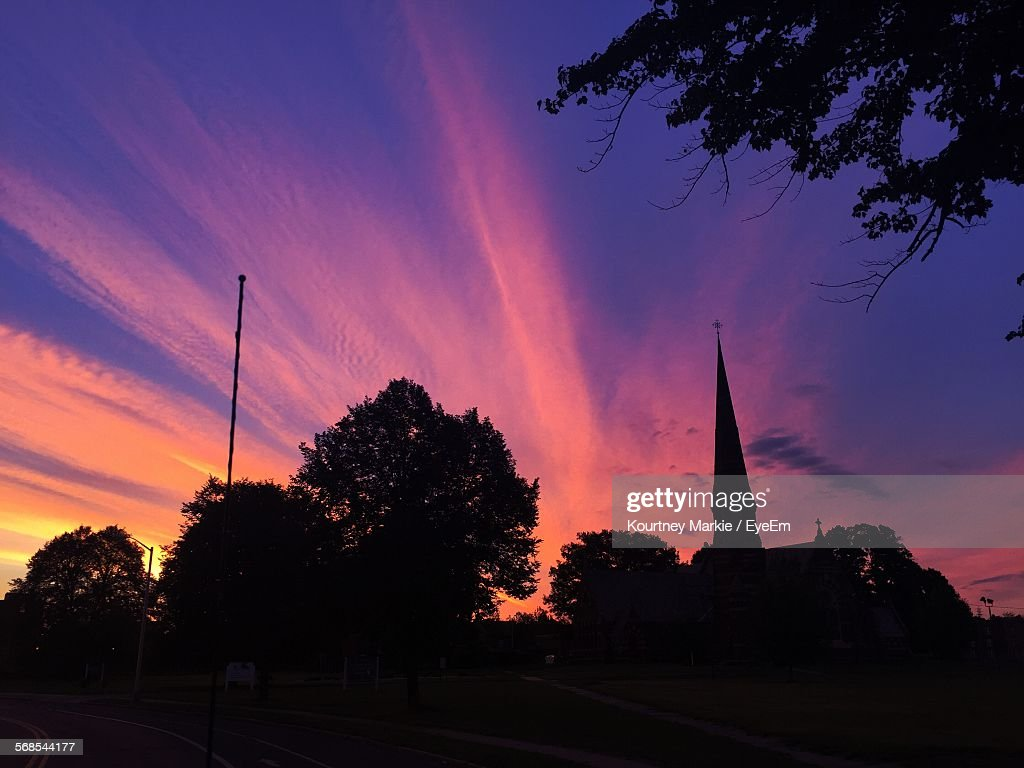 Low Angle View Of Silhouette Church Against Sky During Sunset : Stock Photo