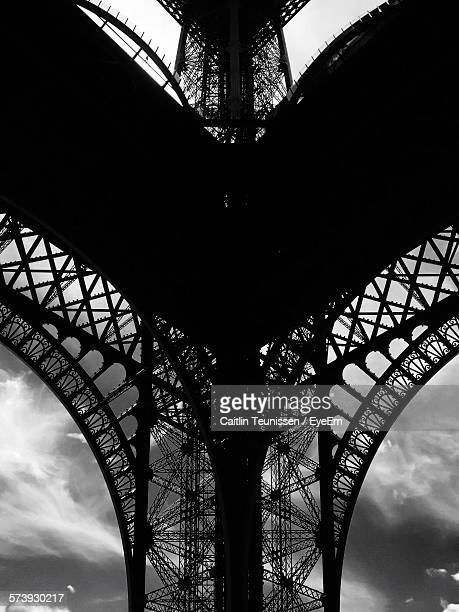 Low Angle View Of Silhouette Eiffel Tower Against Sky