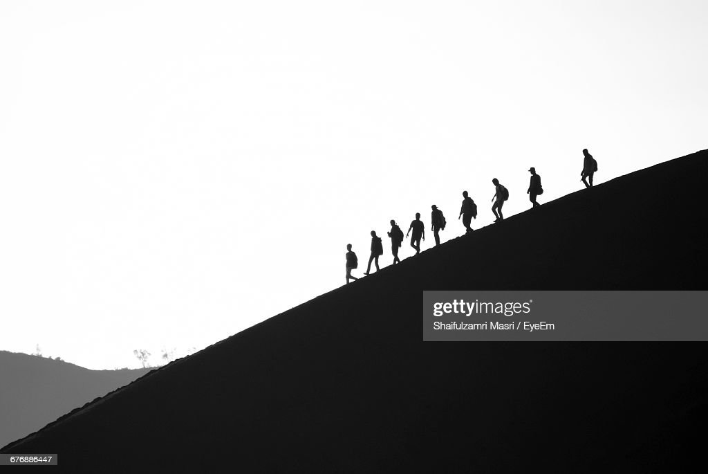 Low Angle View Of Silhouette Mountain Against Clear Sky : Stock Photo