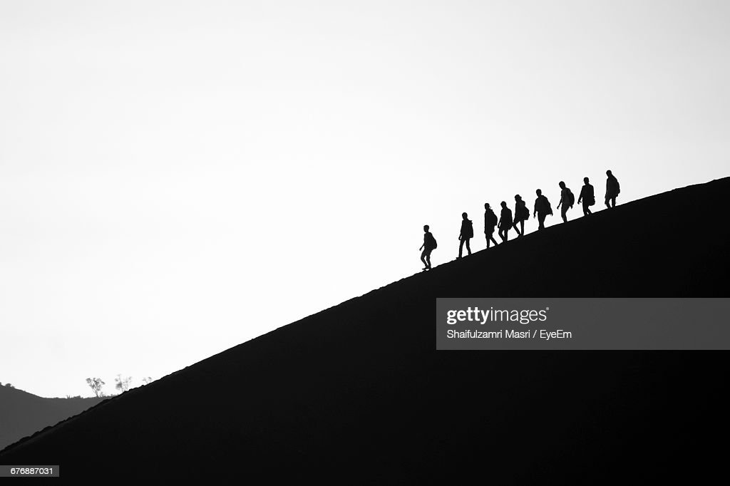 Low Angle View Of Silhouette Mountain Against Clear Sky : Foto de stock
