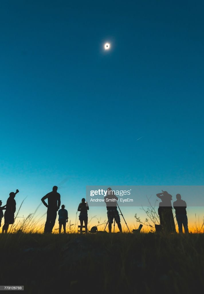 Low Angle View Of Silhouette People Standing On Field Against Clear Sky At Night : Stock Photo