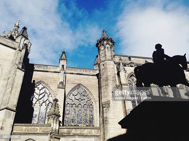Low Angle View Of Silhouette Statue At St Giles Cathedral Against Sky