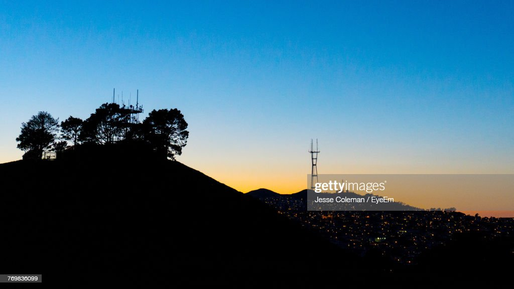 Low Angle View Of Silhouette Trees Against Clear Sky : Stock Photo