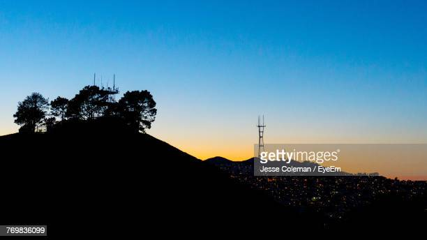 low angle view of silhouette trees against clear sky - jesse coleman stock pictures, royalty-free photos & images