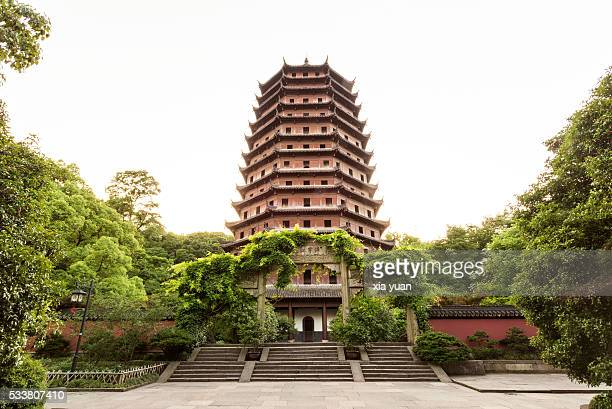low angle view of six harmonies pagoda (liuhe pagoda),hangzhou,china - pagoda stock pictures, royalty-free photos & images