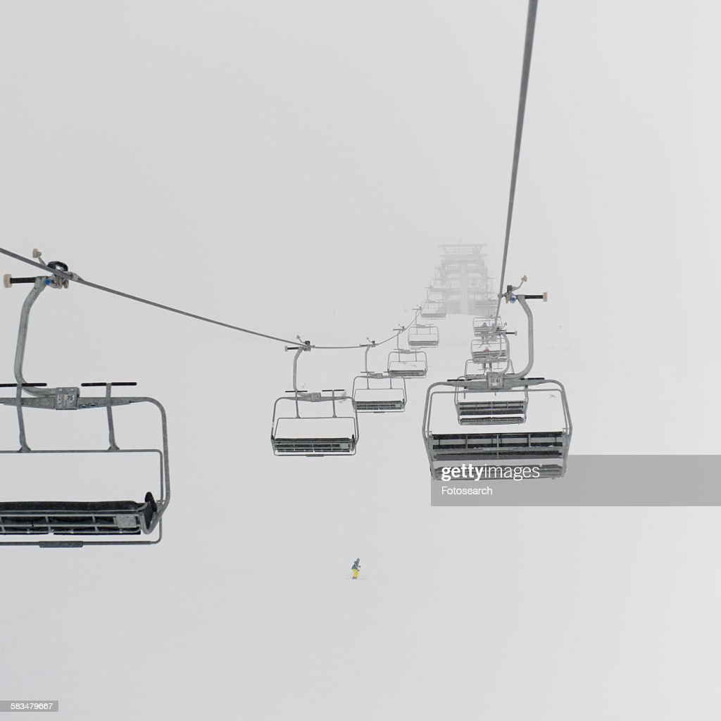Low angle view of ski lifts : Stock Photo