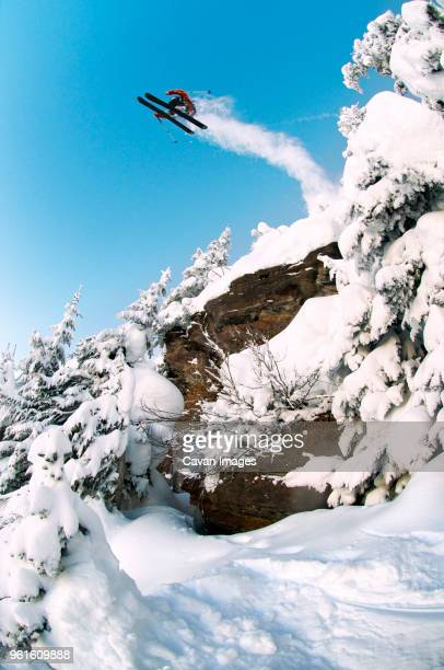 Low angle view of skier performing stunt against sky