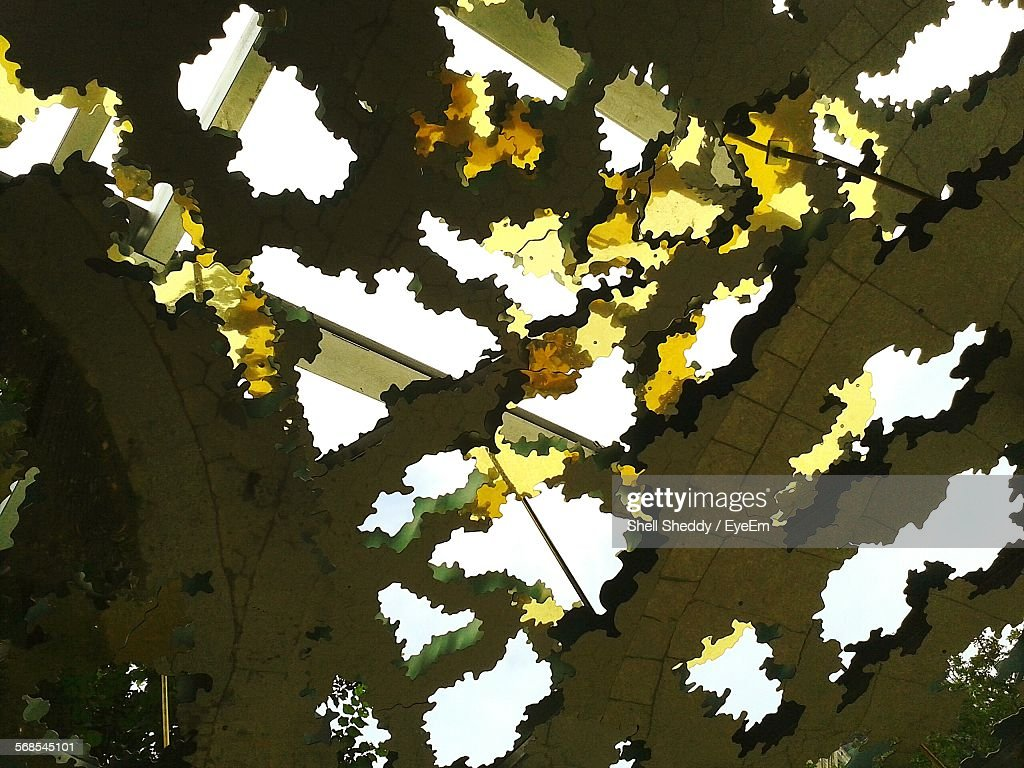 Low Angle View Of Sky Seen Through Ceiling : Stock Photo