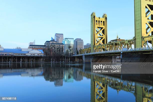 low angle view of skyscrapers against clear sky - sacramento stock pictures, royalty-free photos & images
