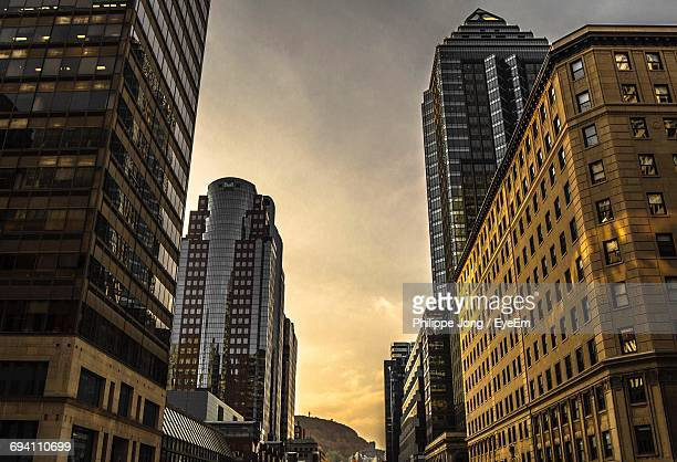 Low Angle View Of Skyscrapers At Sunset