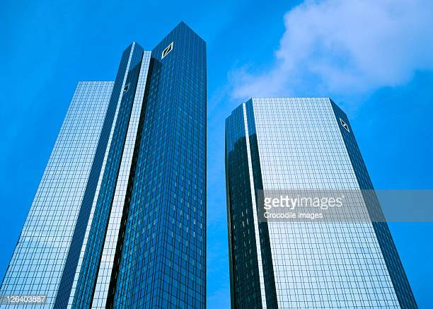 low angle view of skyscrapers, deutsche bank, munich, bavaria, germany - frankfurt main tower stock pictures, royalty-free photos & images