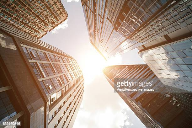 Low Angle View of Skyscrapers In Downtown with Sunshine