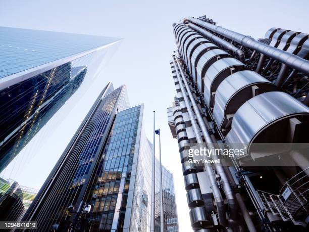 low angle view of skyscrapers in  london - bank stock pictures, royalty-free photos & images