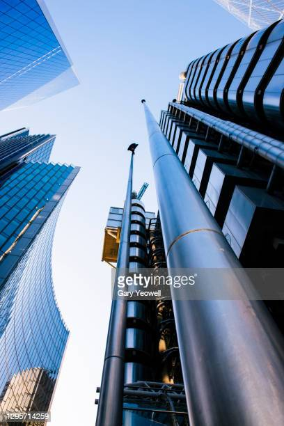low angle view of skyscrapers in  london - london stock pictures, royalty-free photos & images