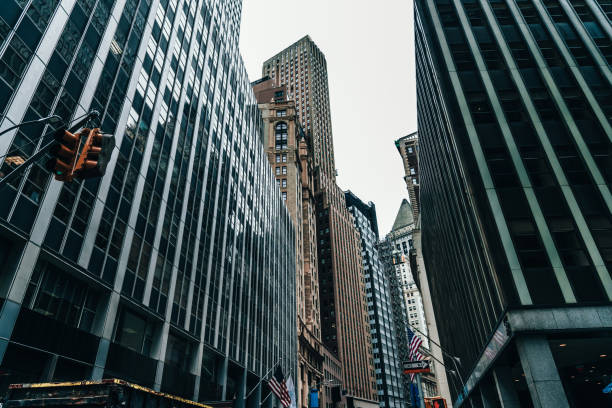 Low Angle View of Skyscrapers in Midtown / Manhattan, NYC