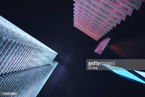 low angle view of skyscrapers in shanghai - diminishing perspective stock pictures, royalty-free photos & images