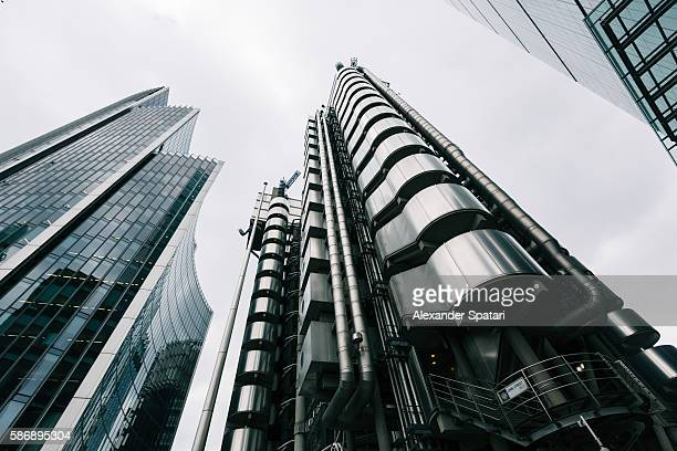 Low angle view of skyscrapers in the City of London, United Kingdom