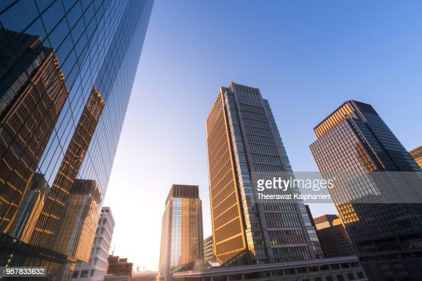 low angle view of skyscrapers in tokyo downtown in the morning - vista de ángulo bajo fotografías e imágenes de stock