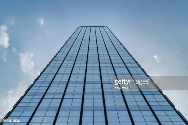 low angle view of skyscrapers - skyscraper foto e immagini stock