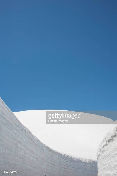 Low angle view of snow covered Mount Tateyama against clear blue sky