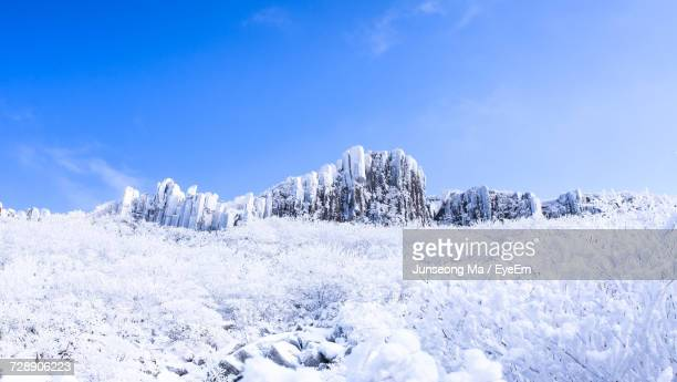 Low Angle View Of Snow On Mountain Against Sky