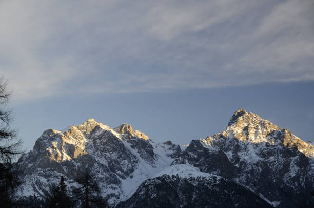 Low Angle View Of Snowcapped Mountains Against Sky, Scuol, Switzerland