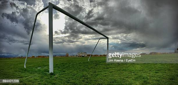 Low Angle View Of Soccer Goal On Field