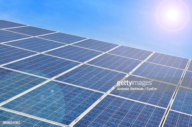 low angle view of solar panels against sky - andreas solar stock pictures, royalty-free photos & images