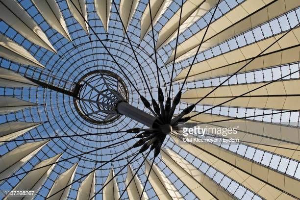 low angle view of sony center roof - sony center berlin stock pictures, royalty-free photos & images