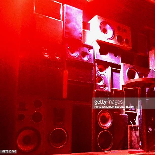 Low Angle View Of Speakers At Nightclub