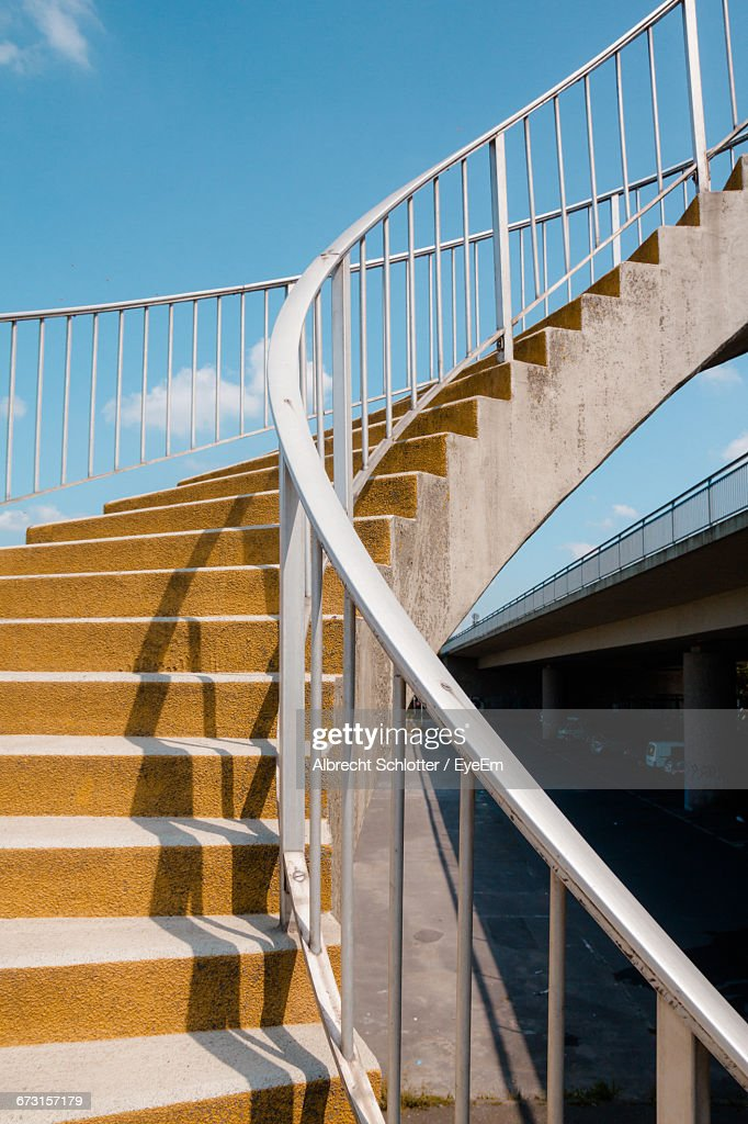 Low Angle View Of Spiral Staircase Against Sky : Stock-Foto