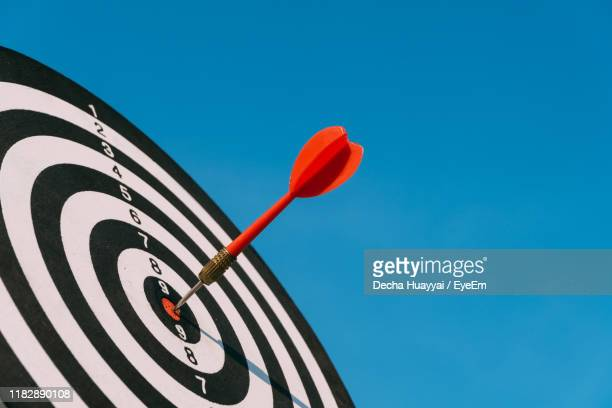 low angle view of sports target against blue sky - sports target stock pictures, royalty-free photos & images